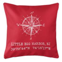 Little Egg Harbor, NJ Compass Rose Coordinates Pillow - Red