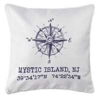 Mystic Island, NJ Compass Rose Coordinates Pillow - Navy on White