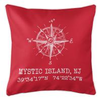 Mystic Island, NJ Compass Rose Coordinates Pillow - Red