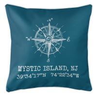 Mystic Island, NJ Compass Rose Coordinates Pillow - Turquoise