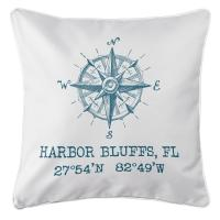 Harbor Bluffs, FL Compass Rose Pillow - Teal on White