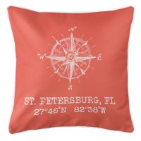 St. Petersburg, FL Compass Rose Pillow - Coral