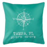 Tampa, FL Compass Rose Pillow - Aqua