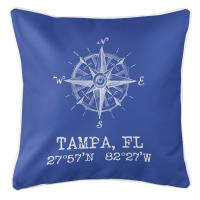 Tampa, FL Compass Rose Pillow - Blue