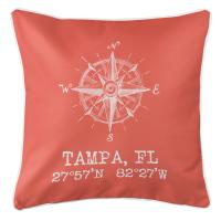 Tampa, FL Compass Rose Pillow - Coral