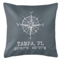 Tampa, FL Compass Rose Pillow - Gray