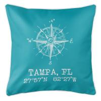 Tampa, FL Compass Rose Pillow - Light Turquoise