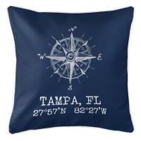 Tampa, FL Compass Rose Pillow - Navy