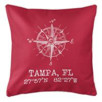 Tampa, FL Compass Rose Pillow - Red