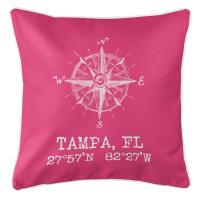 Tampa, FL Compass Rose Pillow - Pink
