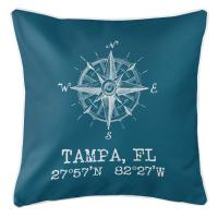 Tampa, FL Compass Rose Pillow - Teal