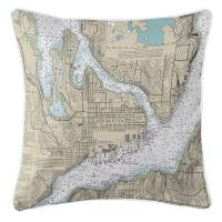 WA: Bremerton, WA Nautical Chart Pillow