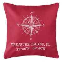 Treasure Island, FL Compass Rose Pillow - Red