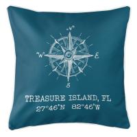 Treasure Island, FL Compass Rose Pillow - Teal