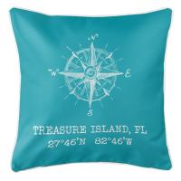 Treasure Island, FL Compass Rose Pillow - Light Turquoise