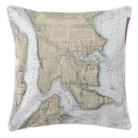 WA: Bainbridge Island, WA Nautical Chart Pillow