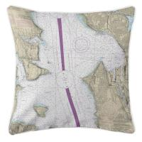 WA: Seattle, WA Nautical Chart Pillow