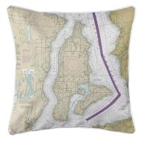 WA: Vashon Island, Maury Island, WA Nautical Chart Pillow