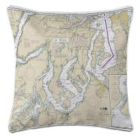 WA: Puget Sound Southern, WA Nautical Chart Pillow