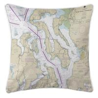 WA: Puget Sound Northern, WA Nautical Chart Pillow