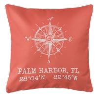 Palm Harbor, FL Compass Rose Pillow - Coral