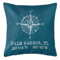 Palm Harbor, FL Compass Rose Pillow - Turquoise