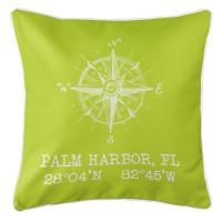 Palm Harbor, FL Compass Rose Pillow - Lime