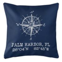 Palm Harbor, FL Compass Rose Pillow - Navy