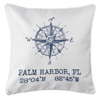 Palm Harbor, FL Compass Rose Pillow - Navy on White