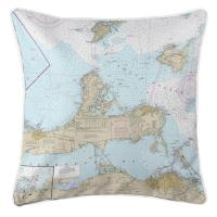 OH: Port Clinton, Sandusky, OH Nautical Chart Pillow