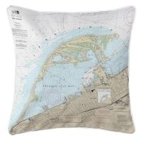 PA: Erie Harbor, Presque Isle, PA Nautical Chart Pillow