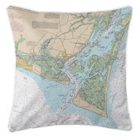 NC: Oak Island, Southport, Bald Head Island, NC Nautical Chart Pillow