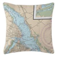 NC: New Bern, NC Nautical Chart Pillow