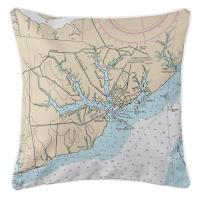 NC: Oriental, NC Nautical Chart Pillow
