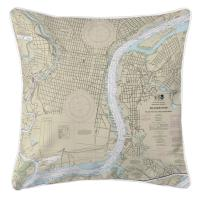 PA-NJ: Philadelphia, PA & Camden, NJ Nautical Chart Pillow