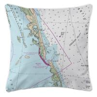 NC: Oregon Inlet, NC Nautical Chart Pillow