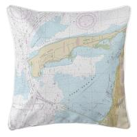 NJ: Sandy Hook, NJ Nautical Chart Pillow