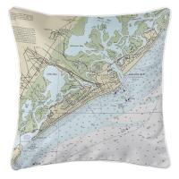 NJ: Atlantic City, NJ Nautical Chart Pillow
