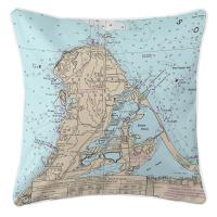 OH: Catawba Island, OH Nautical Chart Pillow