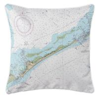 NC: Ocracoke Island, NC Nautical Chart Pillow