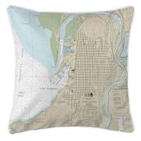 WA: Everett, WA Nautical Chart Pillow