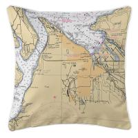 WA: Tacoma, WA Nautical Chart Pillow