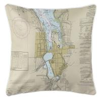 WA: Olympia, WA Nautical Chart Pillow