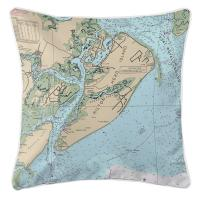 SC: Hilton Head Island, SC Close Up Nautical Chart Pillow