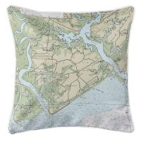 SC: Edisto Island, SC Nautical Chart Pillow