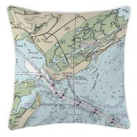 SC: Mount Pleasant, Sullivans Island, SC Nautical Chart Pillow