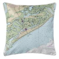 SC: Folly Island, SC Nautical Chart Pillow