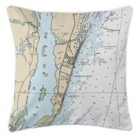 NC: Carolina Beach, Wilmington Beach, Kure Beach, NC Nautical Chart Pillow