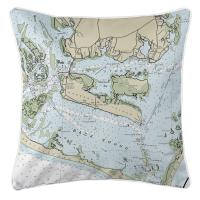 NC: Harkers Island, NC Nautical Chart Pillow
