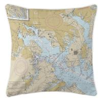 MD: Baltimore, MD Nautical Chart Pillow
